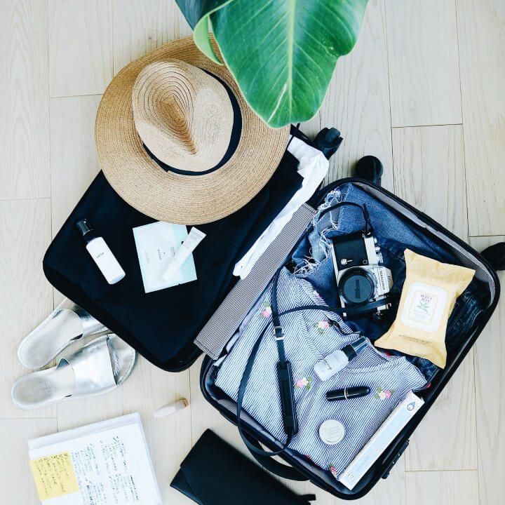 holiday suitcase flatlay