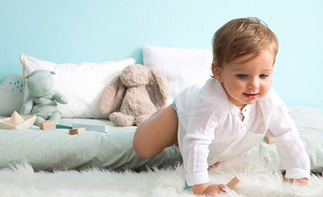 toddler crawling