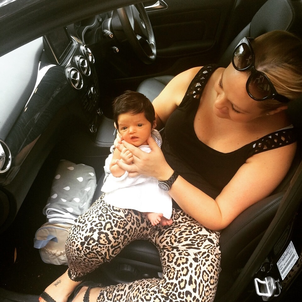 Small baby in the car
