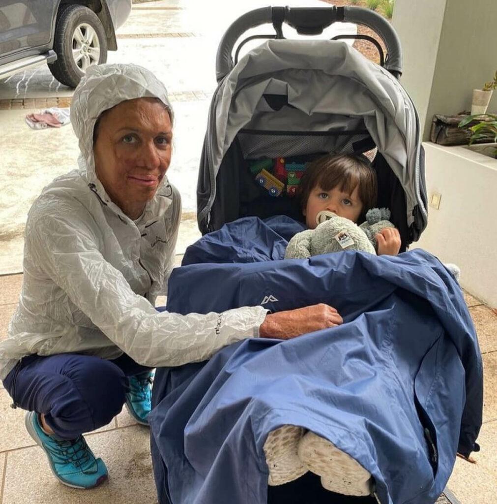 Turia Pitt and son